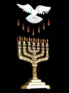 dove and menorah lit